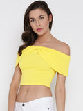 Yellow Bow Front Bardot Crop Top