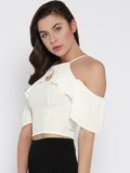 White Front Keyhole Detail Frilled Cold Shoulder Crop Top4