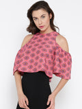 Red and Pink Paisley Bell Sleeve Cold Shoulder Crop Top1
