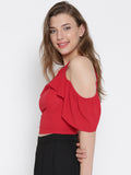 Red Front Keyhole Detail Frilled Cold Shoulder Crop Top