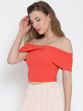 Coral Bow Front Bardot Crop Top