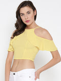 Yellow Frilled Cold Shoulder Crop Top