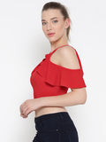 Red Frilled Cold Shoulder Crop Top4