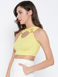 Yellow Metal Detail Cross Back Crop Top