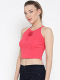 Pink Faux Lace-up Crop Top