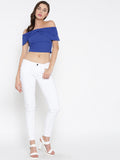 Blue Bow Front Bardot Crop Top5