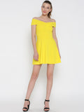 Yellow Bandage Bardot Skater Dress