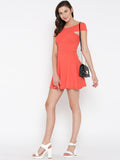 Coral Bandage Bardot Skater Dress