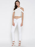 White Bodycon Crossover Cold Shoulder Crop Top4