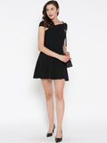 Black Bandage Bardot Skater Dress2
