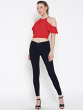 Red Frilled Cold Shoulder Crop Top5