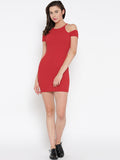 Red Cold Shoulder Bodycon Dress5