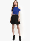Royal Blue Textured Cold Shoulder Crop Top