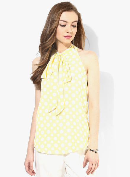 Yellow Polka dot Pussy Bow Top