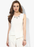 White Embellished Textured Origami Top