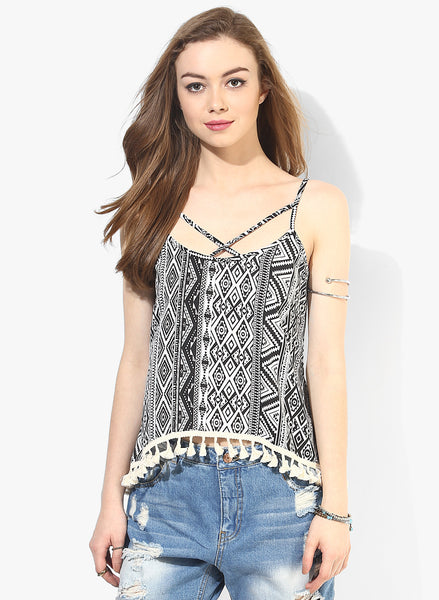 White and Black Aztec Boho Swing Top with Lace Hem1