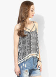 White and Black Aztec Boho Swing Top with Lace Hem