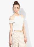 White Textured Cold Shoulder Crop Top5