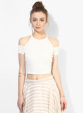 White Textured Cold Shoulder Crop Top