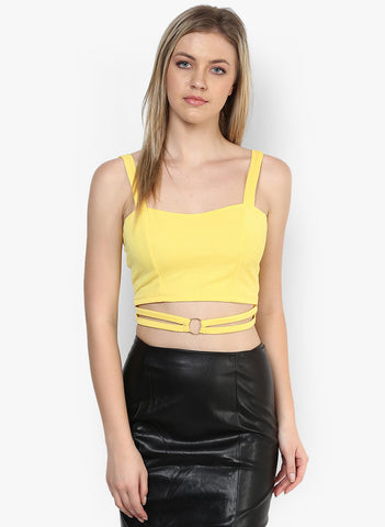 Yellow Metal Ring Detail Crop Top1