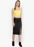 Yellow Metal Ring Detail Crop Top3