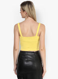 Yellow Metal Ring Detail Crop Top4