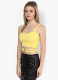 Yellow Metal Ring Detail Crop Top2