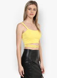 Yellow Metal Ring Detail Crop Top5