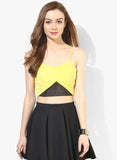 Yellow Tape Detail Strappy Crop Top1