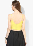 Yellow Tape Detail Strappy Crop Top