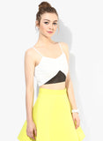White Tape Detail Strappy Crop Top