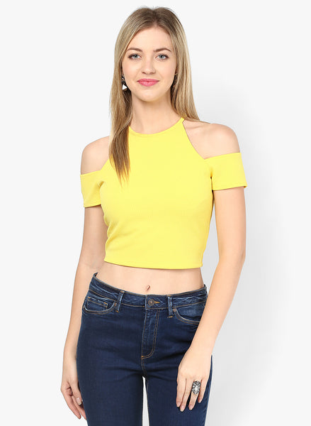 Yellow Textured Cold Shoulder Crop Top