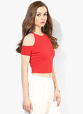 Red Textured Cold Shoulder Crop Top