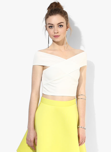 White Bandage Bardot Crop Top1