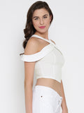 White Bodycon Crossover Cold Shoulder Crop Top2
