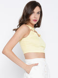 Yellow Metal Detail Cross Back Crop Top3