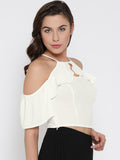 White Front Keyhole Detail Frilled Cold Shoulder Crop Top3