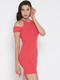 Coral Cold Shoulder Bodycon Dress6