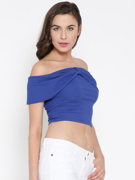 Blue Bow Front Bardot Crop Top1