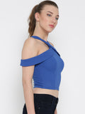 Blue Bodycon Crossover Cold Shoulder Crop Top4