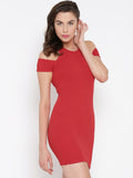 Red Cold Shoulder Bodycon Dress6