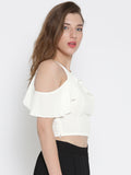 White Frilled Cold Shoulder Crop Top6