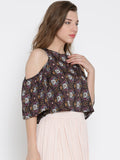 Black Paisley Bell Sleeve Cold Shoulder Crop Top3