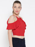 Red Frilled Cold Shoulder Crop Top