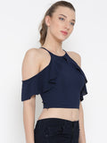 Navy Blue Frilled Cold Shoulder Crop Top