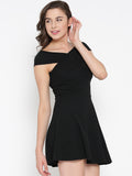 Black Bandage Bardot Skater Dress4