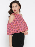 Red and Pink Paisley Bell Sleeve Cold Shoulder Crop Top3