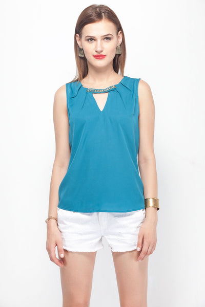 Teal Keyhole Top with Gold Chain Detail