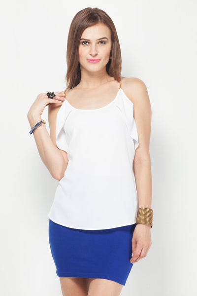 White Golden Metal Chain Strap Top with Side Frill
