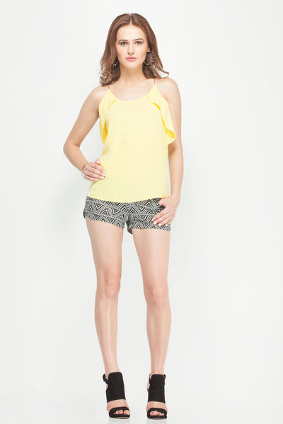 Yellow Golden Metal Chain Strap Top with Side Frill